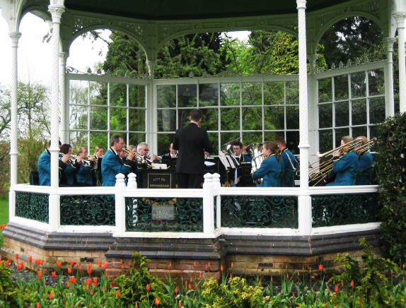 On the bandstand at Birmingham's Botanical Gardens